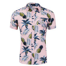 2019 Summer New Mens Beach Hawaiian Shirt Tropical Short Sleeve Shirts Man Casual Button Down Tops US size S-XXL
