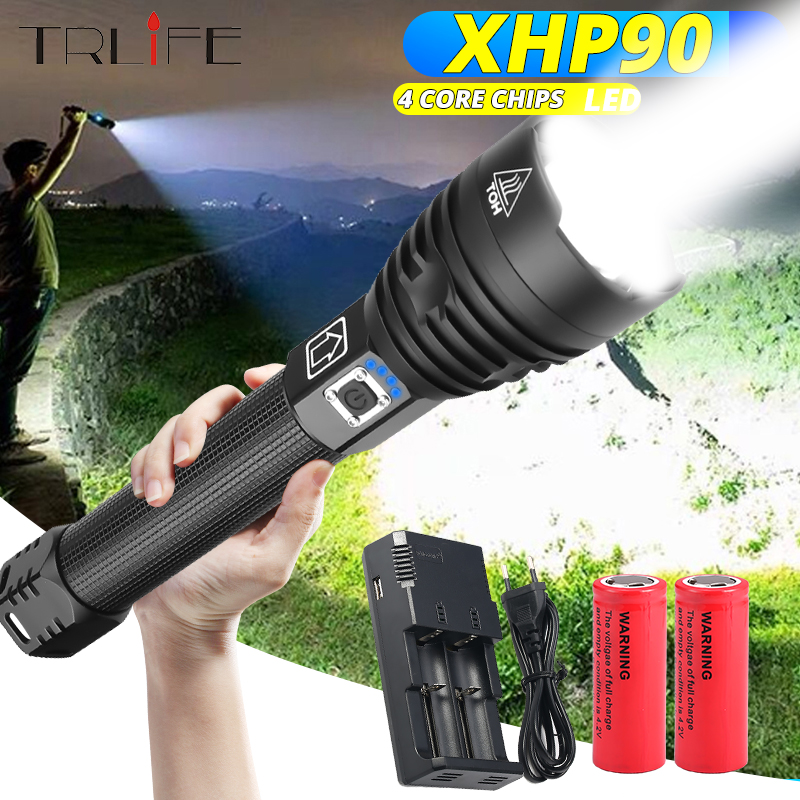 XHP90 Most Powerful Flashlight XHP50 USB Zoom LED Torch XHP70.2 Tactical Lights 18650 26650 Hunting Xlamp Self Defense