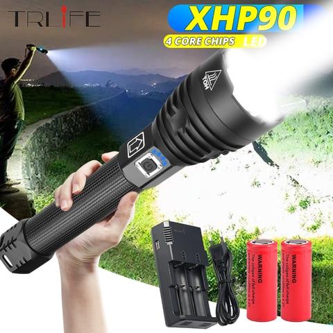 xhp90 lanterna led mais poderosa usb com zoom xhp50 xhp70 2 18650 e 26650 tatica