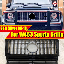 Fits For Mercedes W463 Front Grille grill GTS style ABS Silver Without sign Replacement G class G500 G550 look grills 1990-2018 for mercedes benz g class w463 g500 g63 g65 g800 1990 2018 with emblem gt style front racing grille
