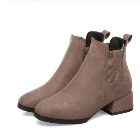 2019 Otoño Invierno botas mujer Camel negro para mujer tacón grueso Slip On Ladies Shoes Bota Feminina 35-43 calcetín negro tobillo bota