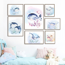 Underwater Creature Whale Coral Wall Art Canvas Painting Nordic Posters And Prints Cartoon Wall Pictures For Kids Room Decor balloon whale panda wall art canvas painting nordic posters and prints wall pictures for kids bedroom baby boy girl room decor