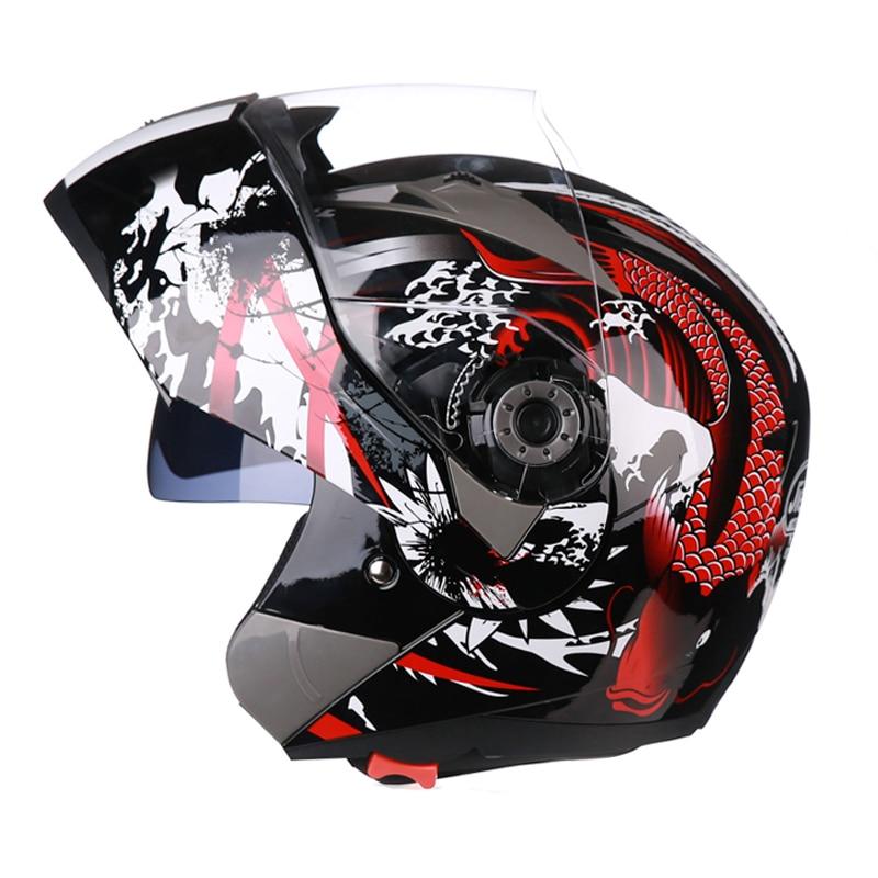 Genuine 105 Motorcycle Full Face Helmet Dual Lens Visor Men Scooter Motocross Motorbike Cruiser Touring Chopper Helmet