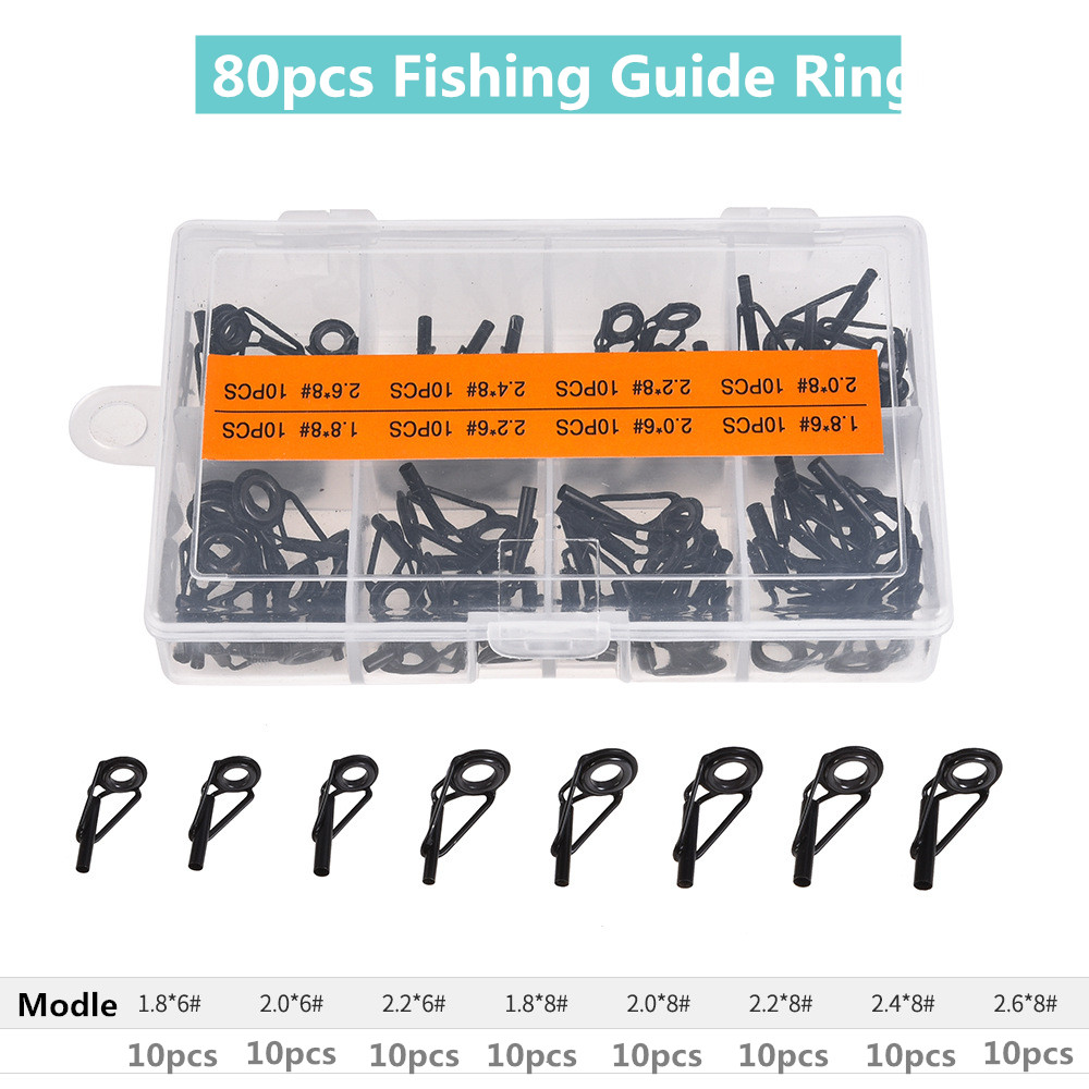 80PCS/Box Multi-Size Fishing Casting Spinning Rod Guide Ring Set Stainless Steel Ceramic Guide Hole Over Wire Loops Suit
