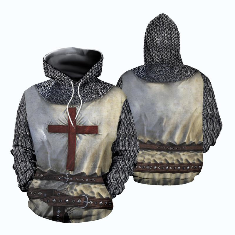 New 3D Printed Knights Templar Sweatshirts Hoodie Anime Cosplay Costume Men Women Hooded Coat Tops Streetwear Halloween Hoodies