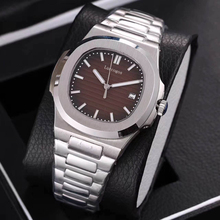 Top Sale watch mens mechanical watches sapphire glass Brown dial stainless steel bracelet sports Glide sooth second hand w
