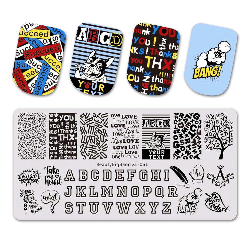 BEAUTYBIGBANG 6*12CM Nail Stamping Plates Rectangle Letters Alphabet Design Template Manicure Nail Art Stamp Image Plate XL-061