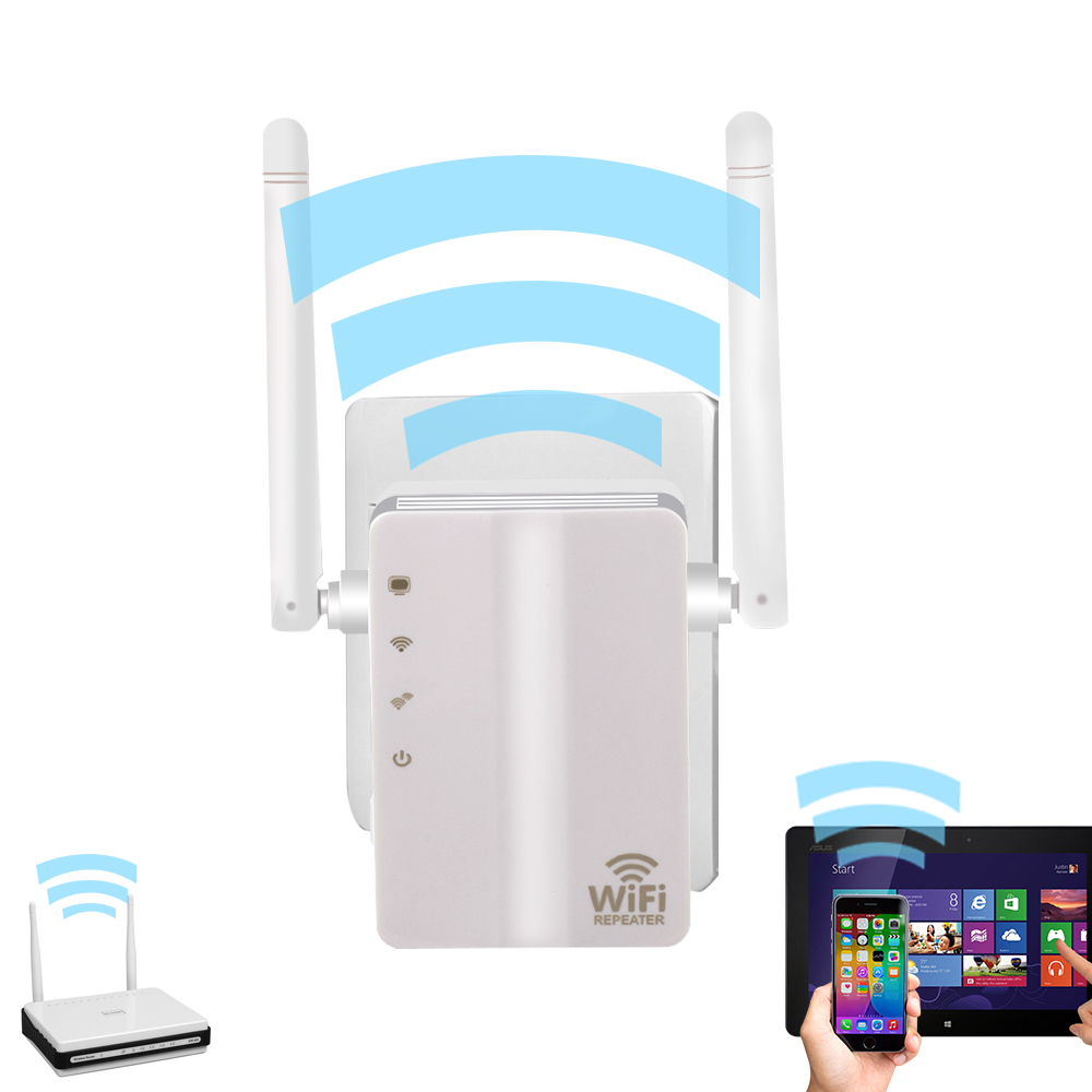 2.4Ghz 300M Wall Plug Portable Mini WiFi Wireless Receiver Router Repeater Adapter With External Antenna