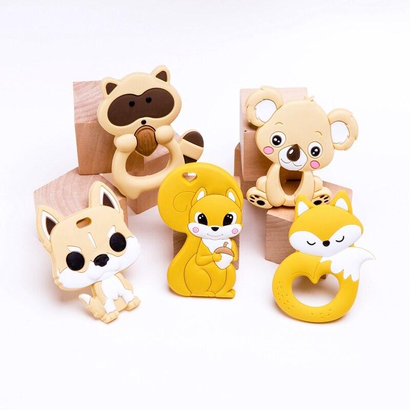 5 PC/lot Silicone bébé ensemble de dentition enfant en bas âge jouets dessin animé Animal bricolage poussette accessoires pour sucette chaîne renard minuscule bébé cadeaux