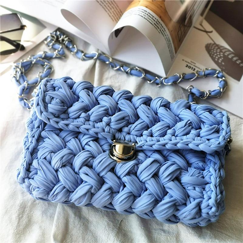 Fashion Cotton Weave Bag Women Chain Shoulder Bags Chic Handmade Crochet Knitting Messenger Bag Mini Cute Party Handbags Clutch