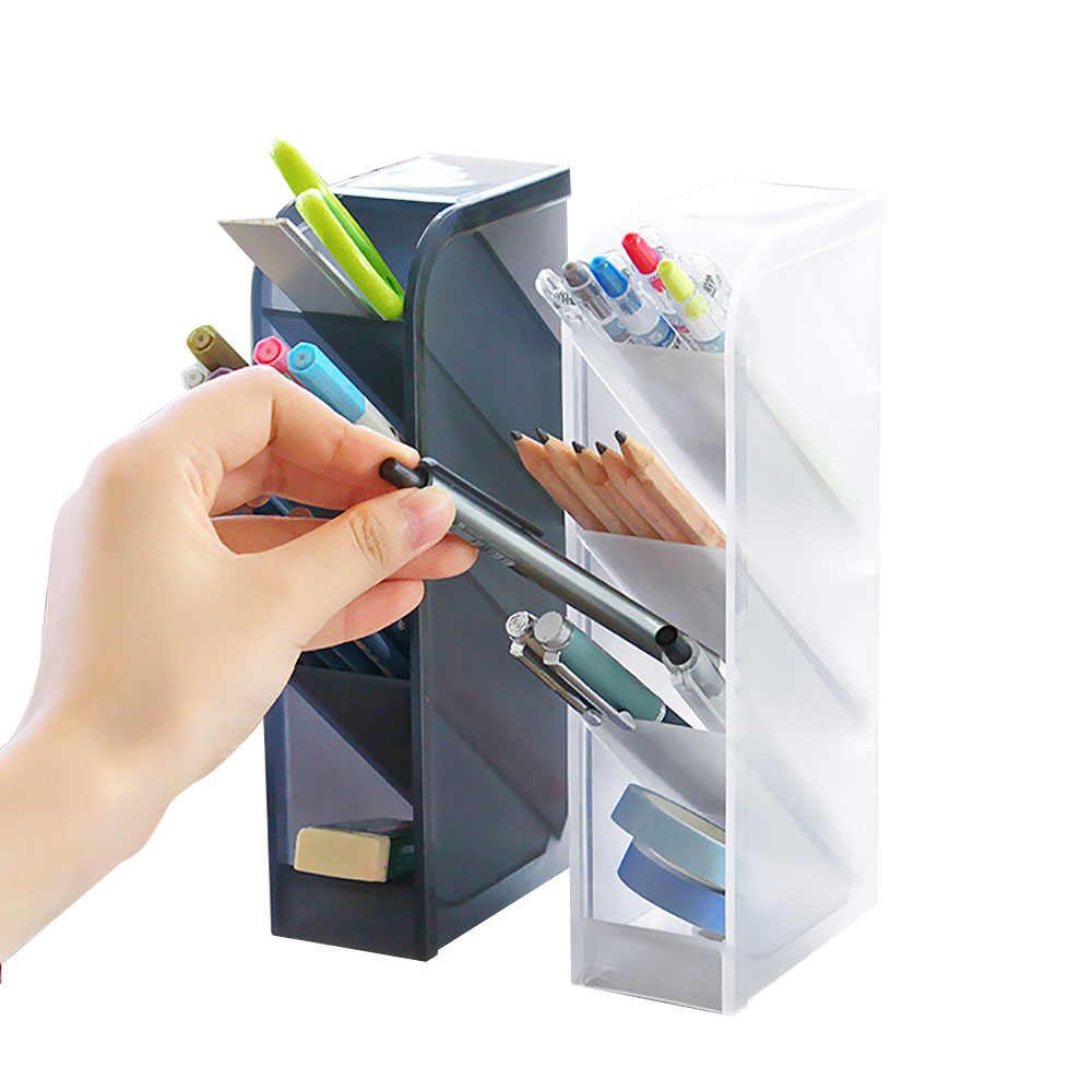 Multi-function 4 Grid Desktop Pen Holder Office School Storage Case Clear White Black Plastic Box Desk Pen Pencil Organizer