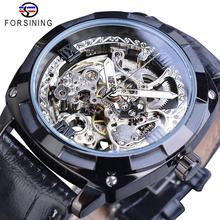 Forsining New Fashion Men Mechanical Watch Black Automatic Skeleton Analog Wristwatch Leather Band Business Watches Montre Homme все цены