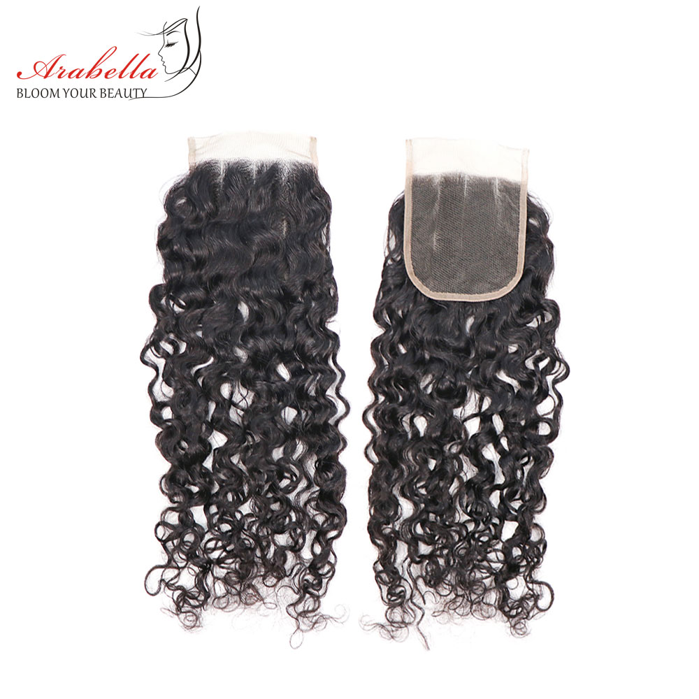 Curly Closure 100% Human Hair Arabella Natural Color Remy Hair Pre Plucked Lace Clousre