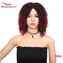 블랙 여성을위한 14 인치 짧은 가발 합성 dreadlocs 머리 가발 옹 브르 블랙 버그 크로 셰 뜨개질 머리 가발 내열성 황금 아름다움