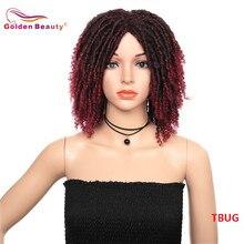 14 pollici Brevi Parrucche per le Donne Nere Sintetica Dreadlocs Parrucca di Capelli Ombre Black Bug Crochet Treccia Parrucche Resistente Al Calore Doro bellezza