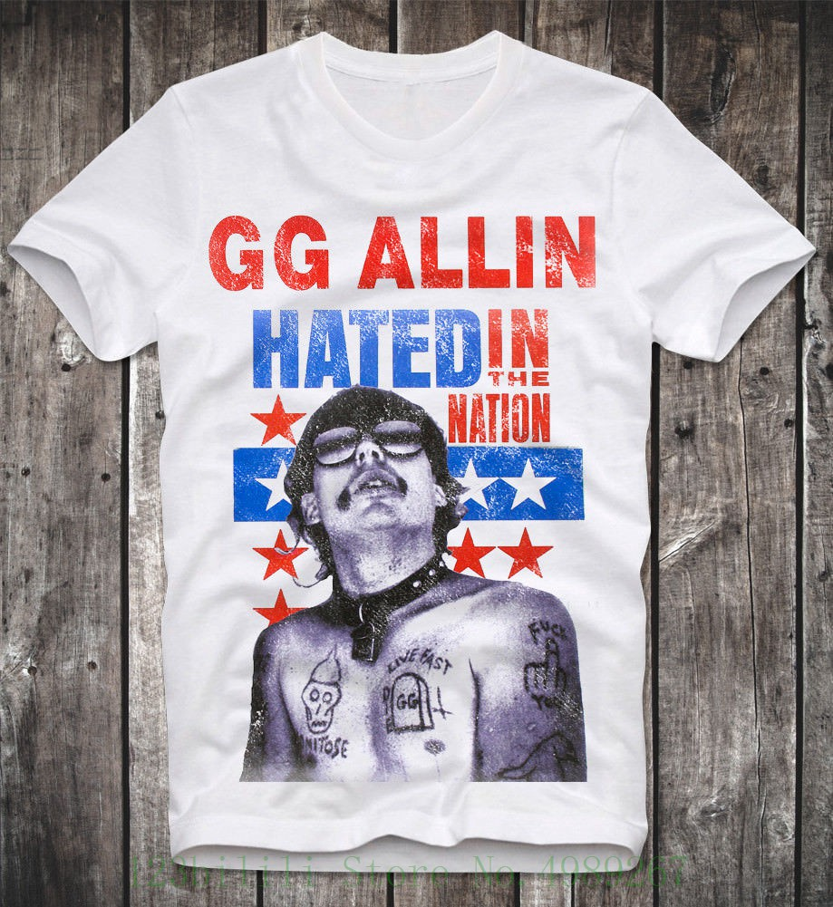 5XL MENS T-SHIRT GG ALLIN AMERICA PUNK ROCK CULT MURDER JUNKIES UNDERGROUND S
