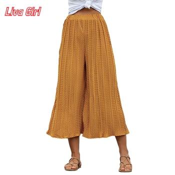 Women Pants Polka Dot Printed Seven Points Wide Leg Pants Summer High Waist Lppse Casual Pants for Women Elasticated Trousers high waist polka dot print trumpet pants