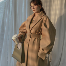 2020 Autumn Winter New Elegant Gentle Camel Lantern Sleeve Woolen Wide Long Coat Women Turn-down Collar Single Breasted Loose cheap le palais vintage Cotton Polyester CN(Origin) 20201001001 Ages 18-35 Years Old Full Wool Blends Sashes Casual Solid Street