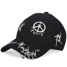 Adjustable Baseball Hat with Ring Outdoor Sports Sun Cap for Women Men Fashion Black Hip Hop Snapback Hats Streetwear Cap 2017 new 5 black hats qp baseball cap outdoor sports hats hip hop caps snapback sun hat for men and women wholesale ab004