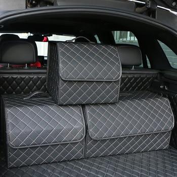Car Trunk Organizer Box Large Capacity Auto Multiuse Tools Storage Bag Stowing Tidying Leather Folding For Emergency Storage Box