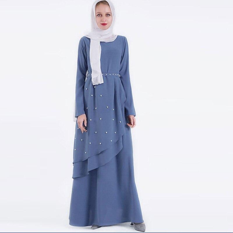 Fashion Muslim Small Fresh Beads Ramadan Ethnic Style Women's Dress Islamic Dress Arab Belt Kimono Moroccan Caftan Long Skirt