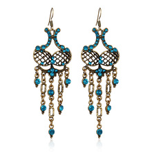 цена на Ethnic Vintage Rhinestone Earrings For Women Antique Bronze Zinc Alloy Hollow Out Bohemia Crystal Long Dangle Earrings