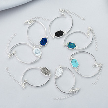 Hot Sale Charm Bracelet & Bangle Gold Silver Color Metal Adjustable Resin Crystal Quartz Druzy Jewelry  for Women