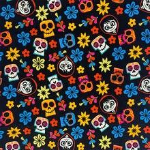 Moda fundo preto colorido crânio flor 100% tecido de algodão legal crânio impresso costura material diy casa pano vestido roupas