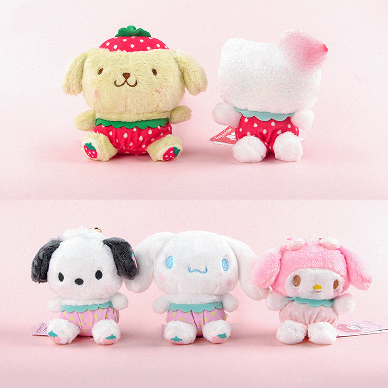 25cmKawaii Cartoon Sanrio Series Plush Toy My Melody Pendant Doll Pudding Dog Cinnamoroll Pillow Toy Soft Stuffed Sanrio Keyring
