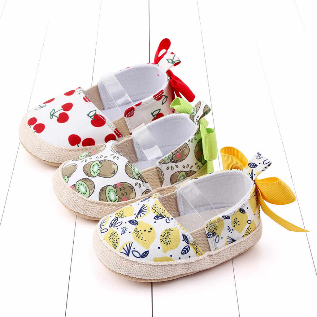 Cherry Lemon Elastic First Walkers Newborn Baby Girl Shoes Casual Soft Soles Preewalkers Bowknot Toddler Girls Princess Shoes