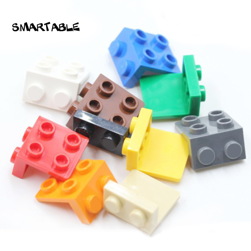 Smartable Bracket 1x2 - 2x2 Tray For Figures Building Blocks Brick Parts Toys For Kids Compatible City 92411/44728 100pcs/set