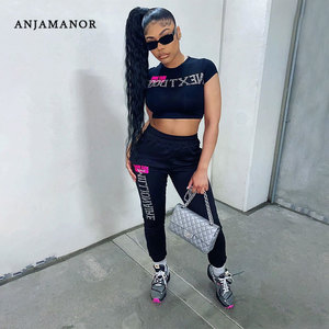 ANJAMANOR Rhinestones Letter Print 2 Piece Sets Womens Outfits Sexy Sporty Tracksuits Crop Tops and Pants Sweatsuit D60-CI34