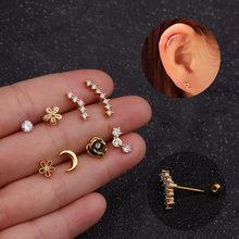 Novo design cz barra curvada flor lua cartilagem brinco conch piercing hélice parafuso prisioneiro da orelha piercing jóias para mulher menina ouro