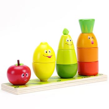 Nuevo clasificador de Color con forma de fruta, bloque de apilamiento, rompecabezas grueso, juguete educativo de madera para niños pequeños, clasificador de Color con forma de fruta