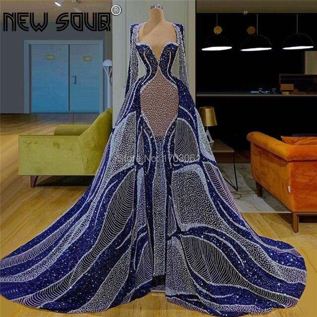 ร้อนเซ็กซี่ดูไบโปร่งใสชุดราตรีมุสลิมสีฟ้าอย่างเป็นทางการชุดราตรี Kaftans Celebrity PARTY Gowns Abendkleider CUSTOM Made