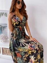 V pescoço sexy magro cintura elástica maxi vestido vintage impressão rendas-up sem costas vestido longo elegante halter sem mangas vestido de festa feminino