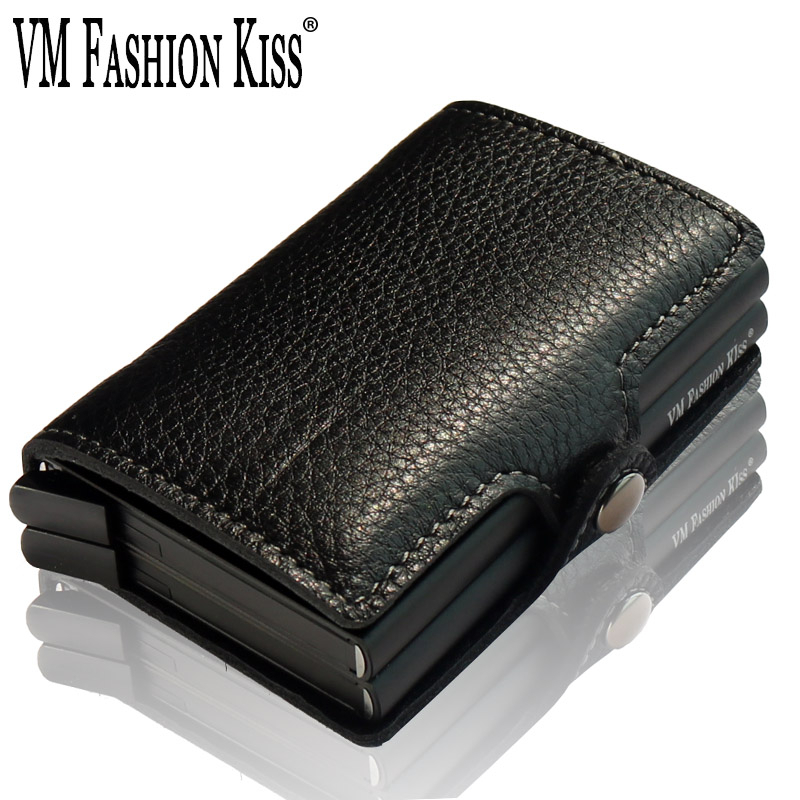 VM FASHION KISS Men Porte Carte RFID Mini Wallet Security Smart Double Box Aluminum Business Credit Card Case Holder Metal Purse