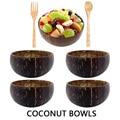 Натуральный миска из скорлупы кокоса ложка творческий набор кокосовое шары шар фруктового салата лапша деревянные чаши посуда Ресторан Ку...