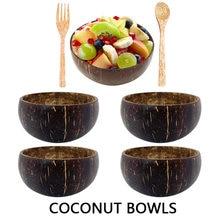 Natural de coco concha tigela colher conjunto criativo tigelas de coco frutas salada tigela macarrão tigela de madeira utensílios de mesa restaurante cozinha