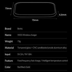 Image 5 - Benks cargador inalámbrico Qi de aleación de aluminio, carga rápida, 10W, para Samsung S10, S9, S9 + S8, 7,5 W, iphone 11 Pro, Max, XS, XR, X, IOS, 11,2