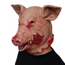 Latex Horror Schwein Maske Unisex Halloween Phantasie Kleid Scary Saw Pig Maske Vollen Kopf Horror Bösen Tier Prop(China)