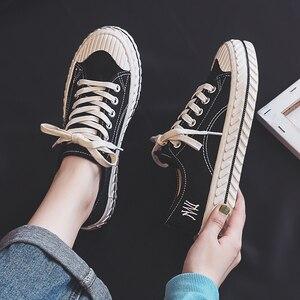 Image 2 - Vrouwen Canvas Schoenen 2019 Herfst Nieuwe Mode Sneakers Retro Schoenveter Trend Mode Ademend Platte Sneakers Casual Schoenen Vrouwen