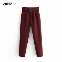 New color Wine red Womens suit Pants Trousers high waist causal belt Pa