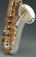 Jupiter khs saxofone profissional, tenor b plana prata dourada chaves saxofone