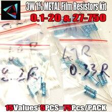 75 Pcs 3W METAL film resistor.1 Ohm ~ 20 ohm or 27 ohm ~ 750 ohm 1% Assorted Kit Resistance 15 Values*5pcs