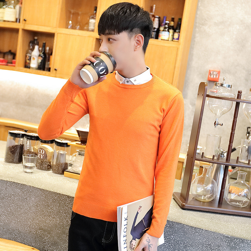 Sweater Men Long Sleeve Black Beige Brown Gray Fake Two Winter Pullovers Solid Turn-down Collar Casual Mens Sweaters