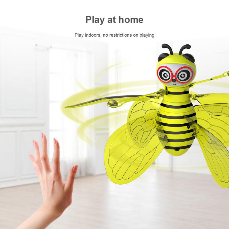 Children's RC Toy Mini Bee Gesture Sensor Aircraft Electronic Infrared With Flashing Aircraft Animal Sensor Toy