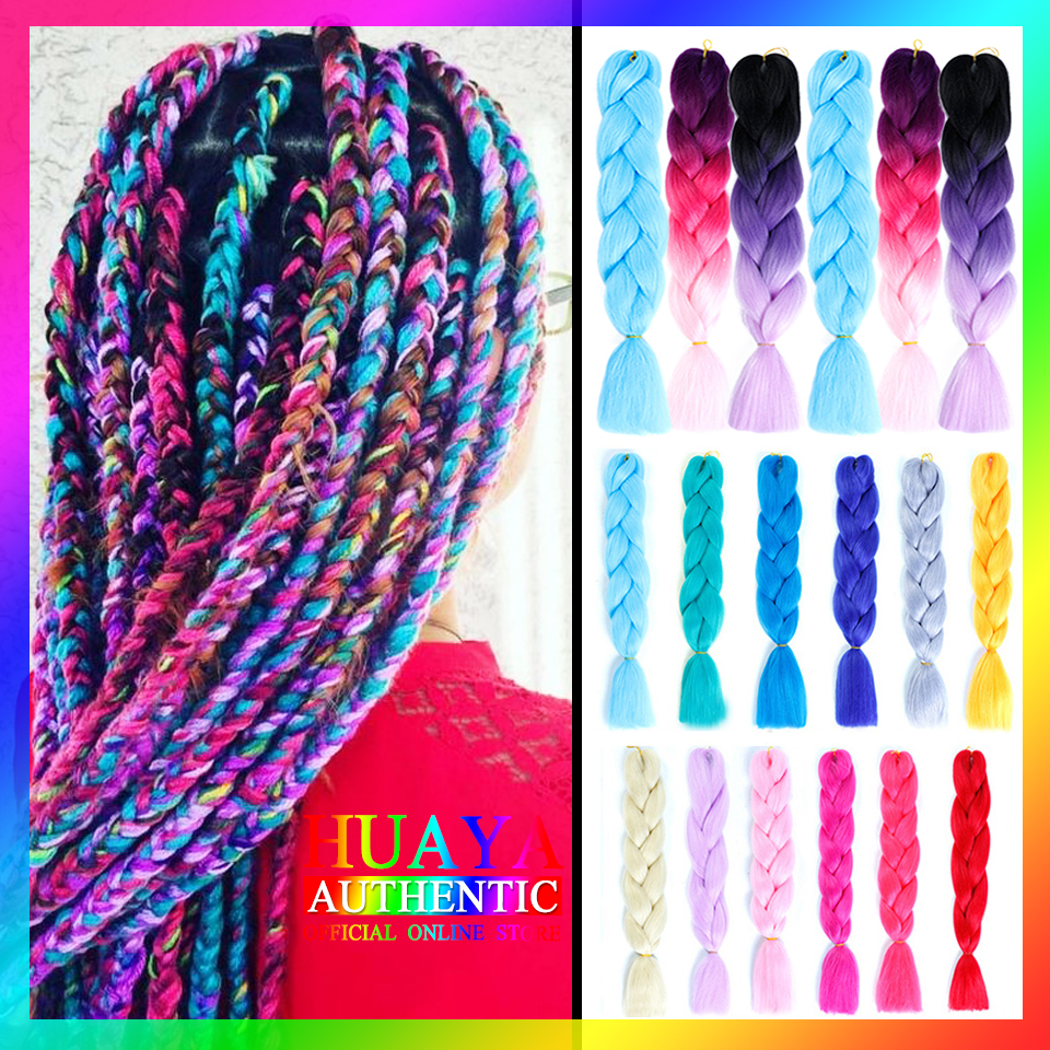 HUAYA 100g/Pack Synthetic Ombre Color Jumbo Braids Crochet Braids Braiding  Hair Extension Heat Resistant Fiber Synthetic Wigs