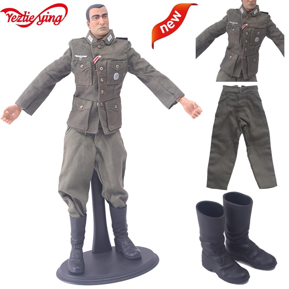 1//6 Clothes WWII M43 Uniform Combat Pants German Tube Boots Set Fit 12/'/' Body