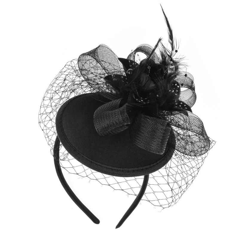 Women Fascinator Party Veil Feather Hairclip Top Hat Mesh Net Bowknot Wedding Hairband Girls Hair Accessories CORD